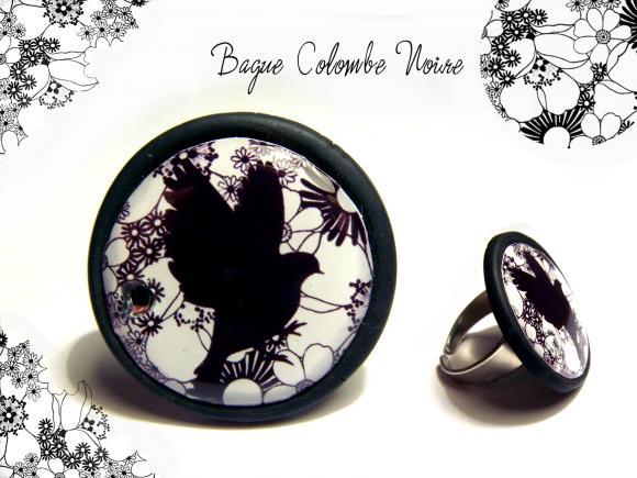 bague oiseau chic, bague chic, bague noir et blanc, bague colombe noire