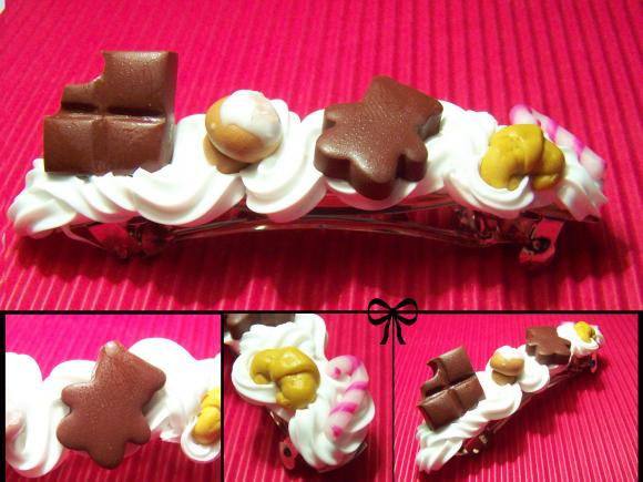 barrette chantilly en fimo, fausse chantilly, barrette gourmande, miss cook, bijoux gourmands