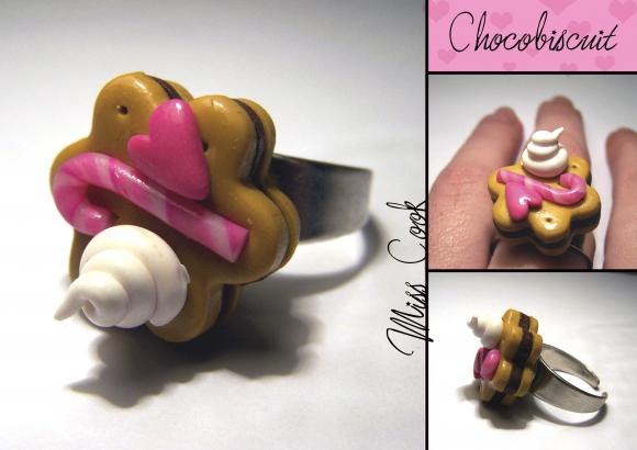 bague chocobiscuit, bague biscuit au chocolat, bague biscuit fimo
