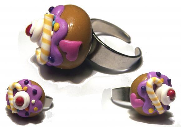 bague donut kawaii, bague donut, bague gourmande, bague sucrerie, bague fimo, bague biscuit, donut fimo, bijoux kawaii, kawaii